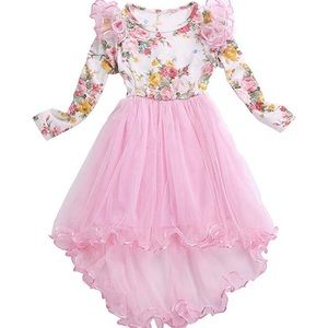 Other - Long Sleeves High Low Pink Girls Dress